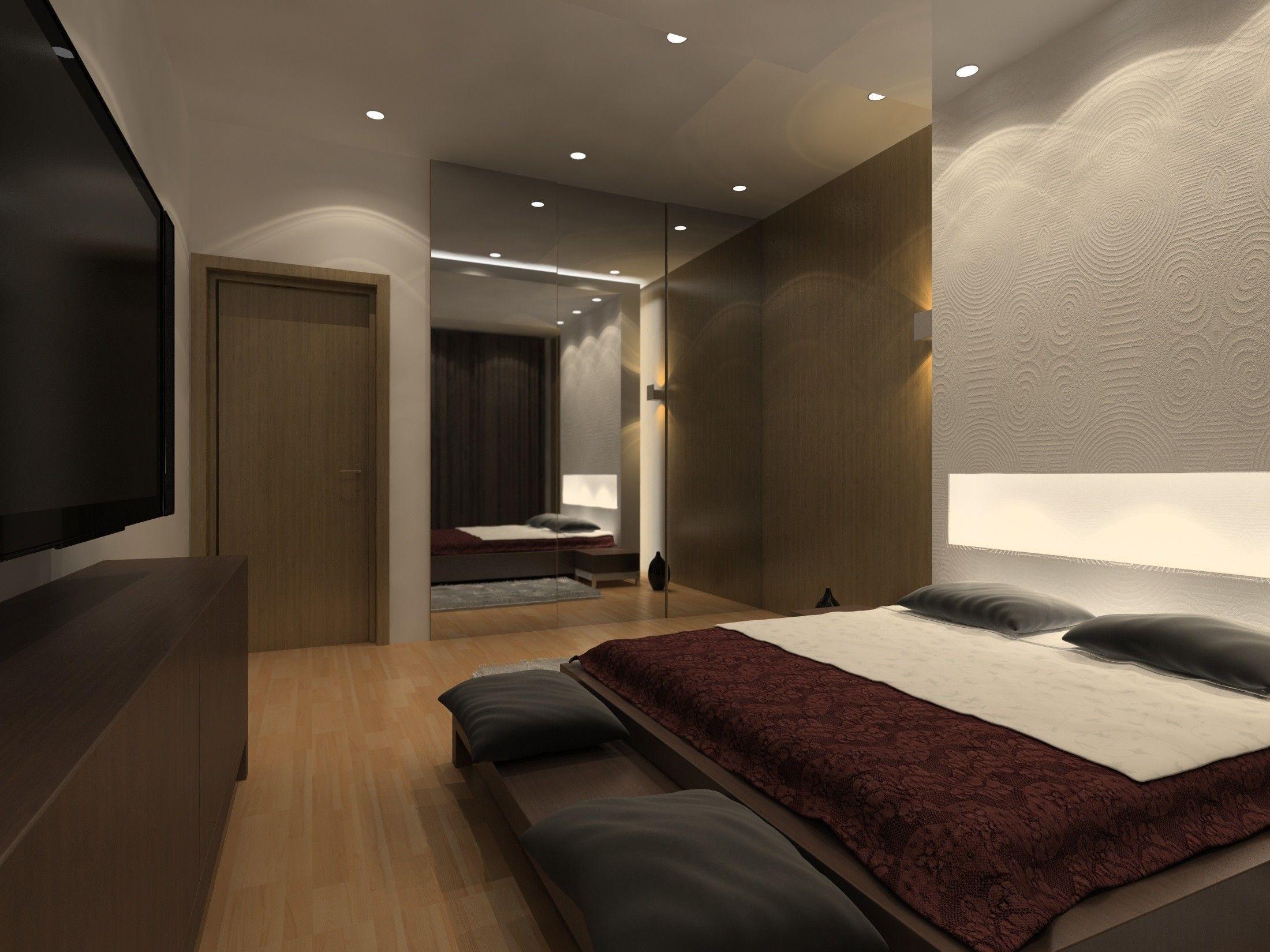 Интерьер спальни в современном стиле в коричневых цветах