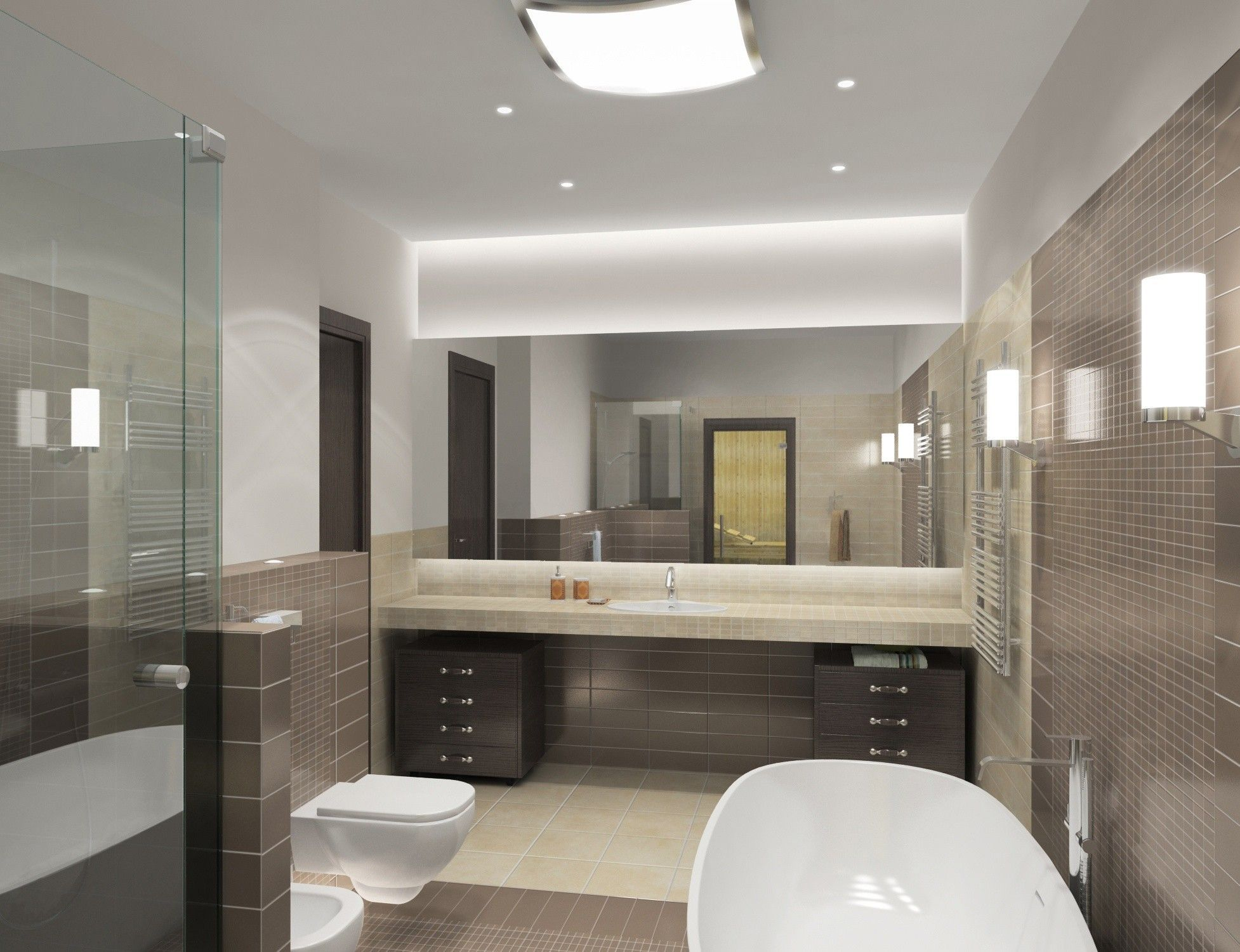 Дизайн проект ванной комнаты в современном стиле
