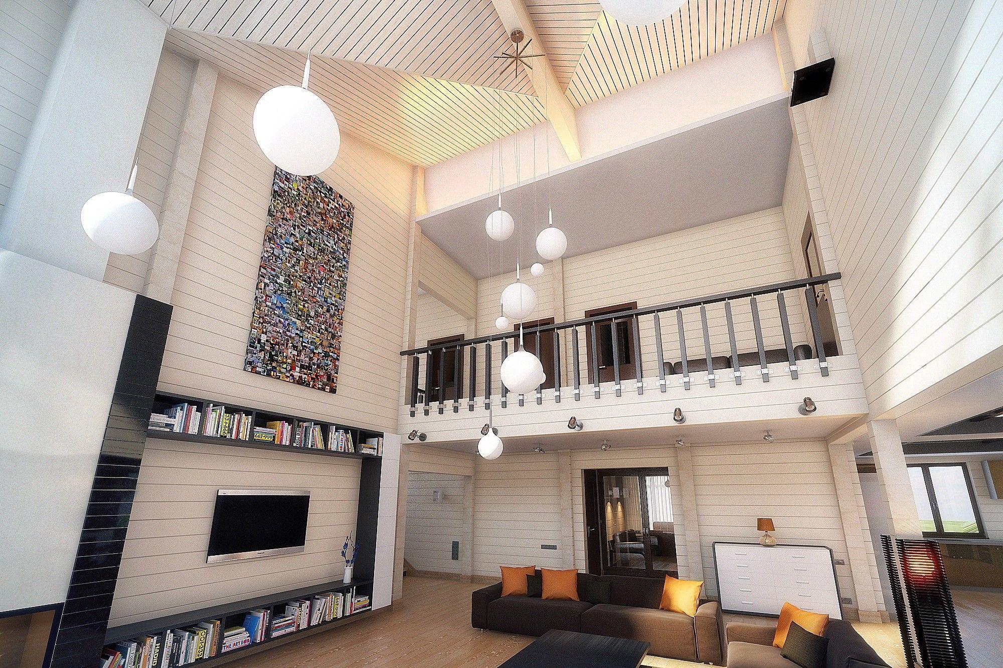 интерьер двухэтажного частного дома