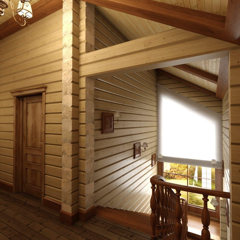 интерьер деревянного дома лестница
