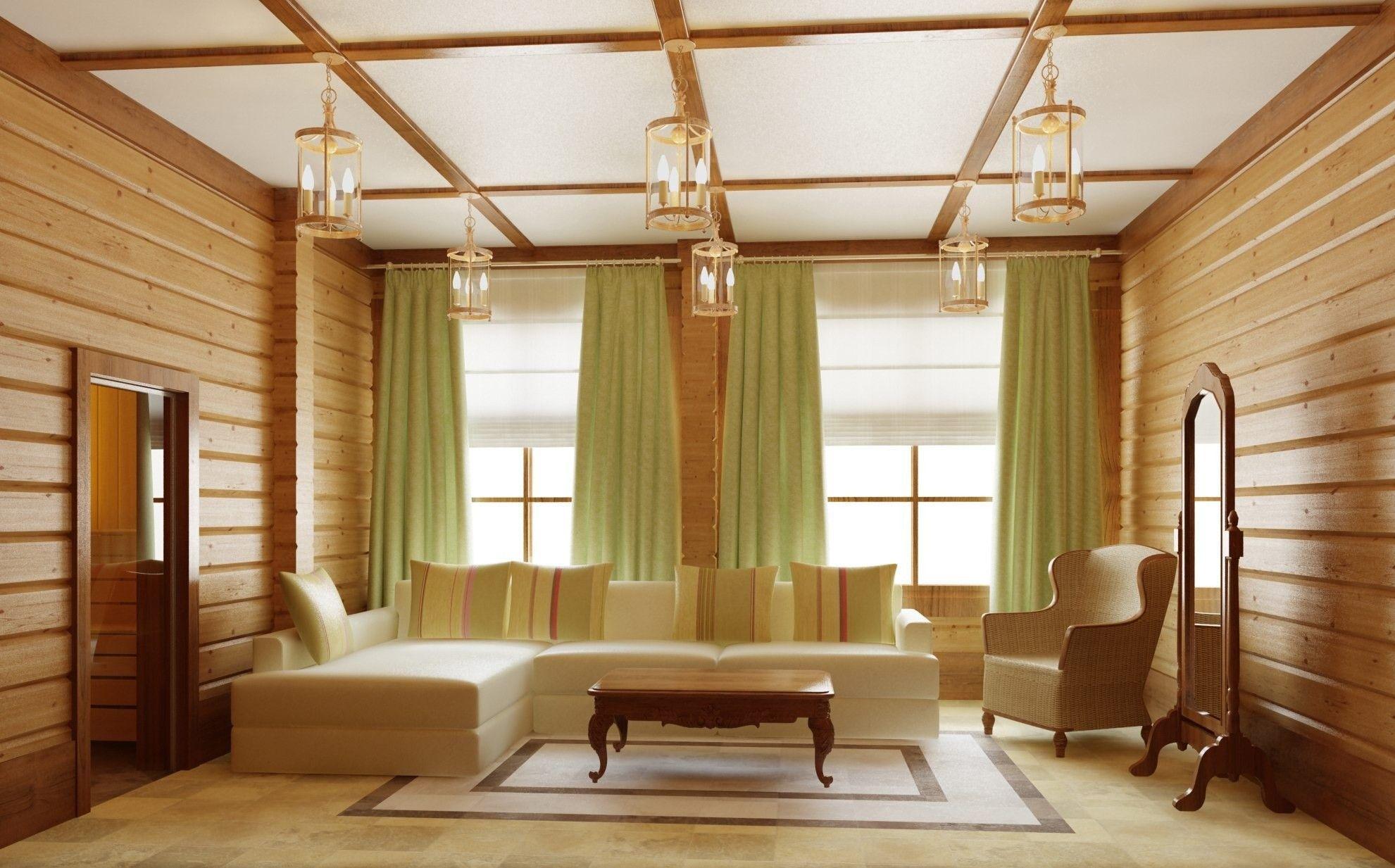 интерьер деревянного дома гостиная