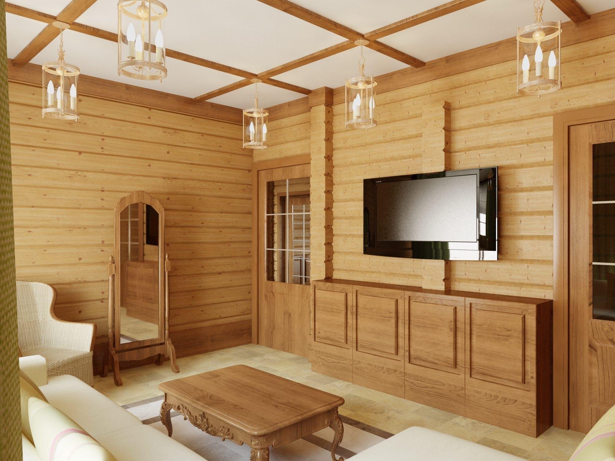 дизайн - проект деревянного дома гостиная