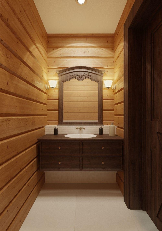 дизайн - проект деревянного дома ванная