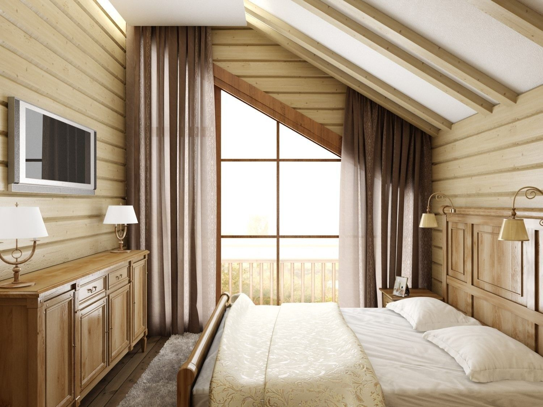 дизайн - проект деревянного дома спальня