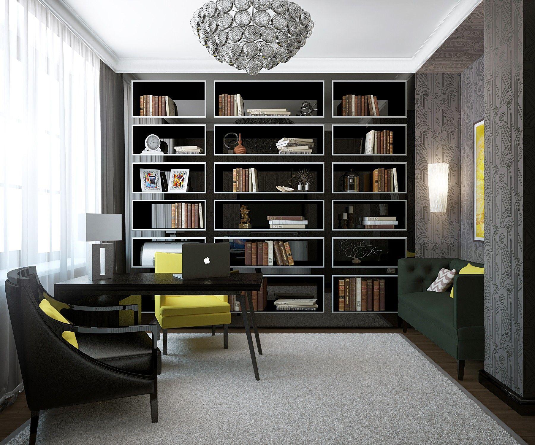 Кабинет. Дизайн интерьера дома.
