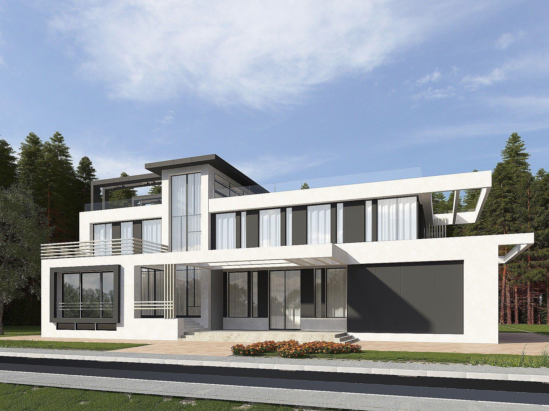 Проекты домов шале - комбинированные