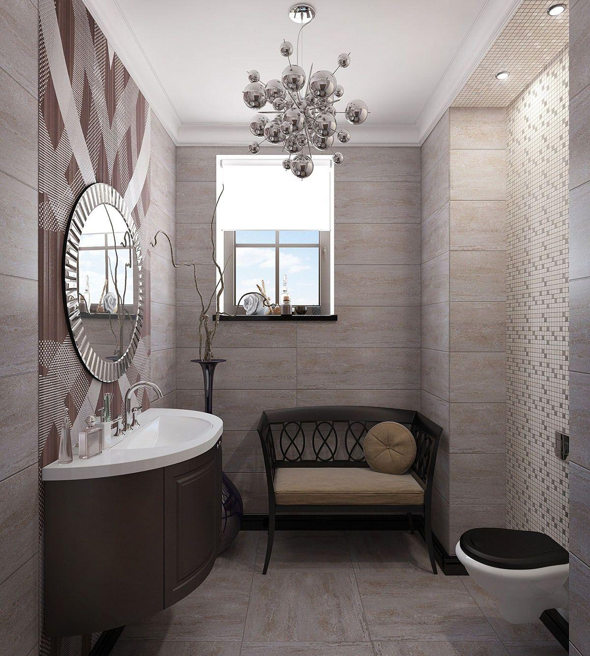 Санузел гостевой. Дизайн интерьера дома.