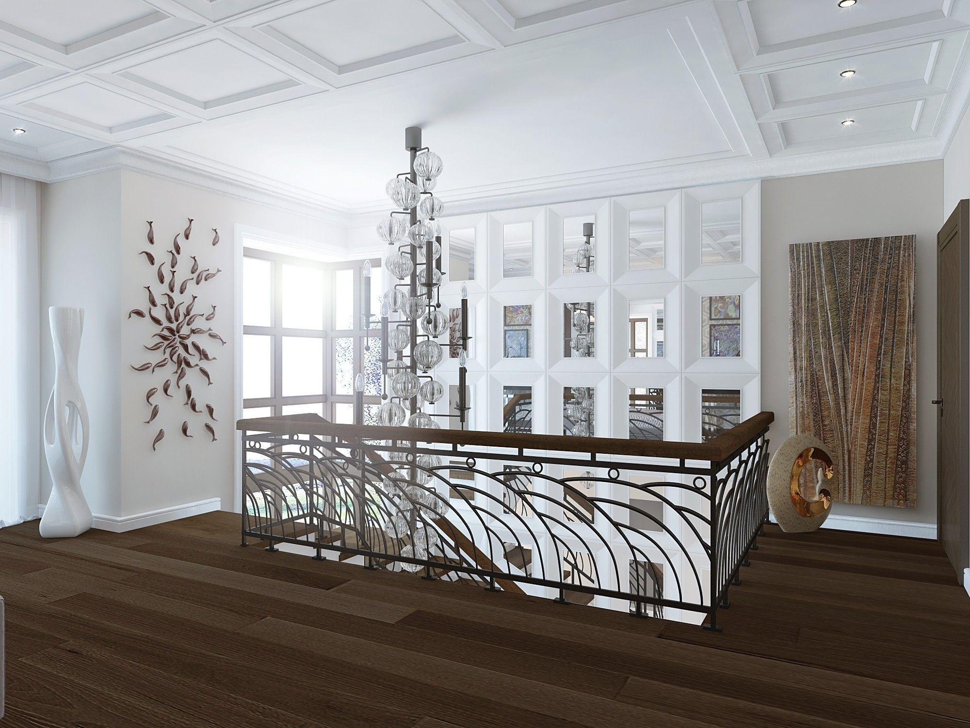 Холл 2-го этажа. Дизайн интерьера дома.