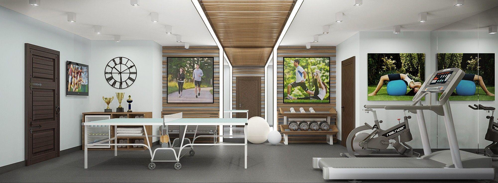 Спортивный зал. Дизайн интерьера дома.