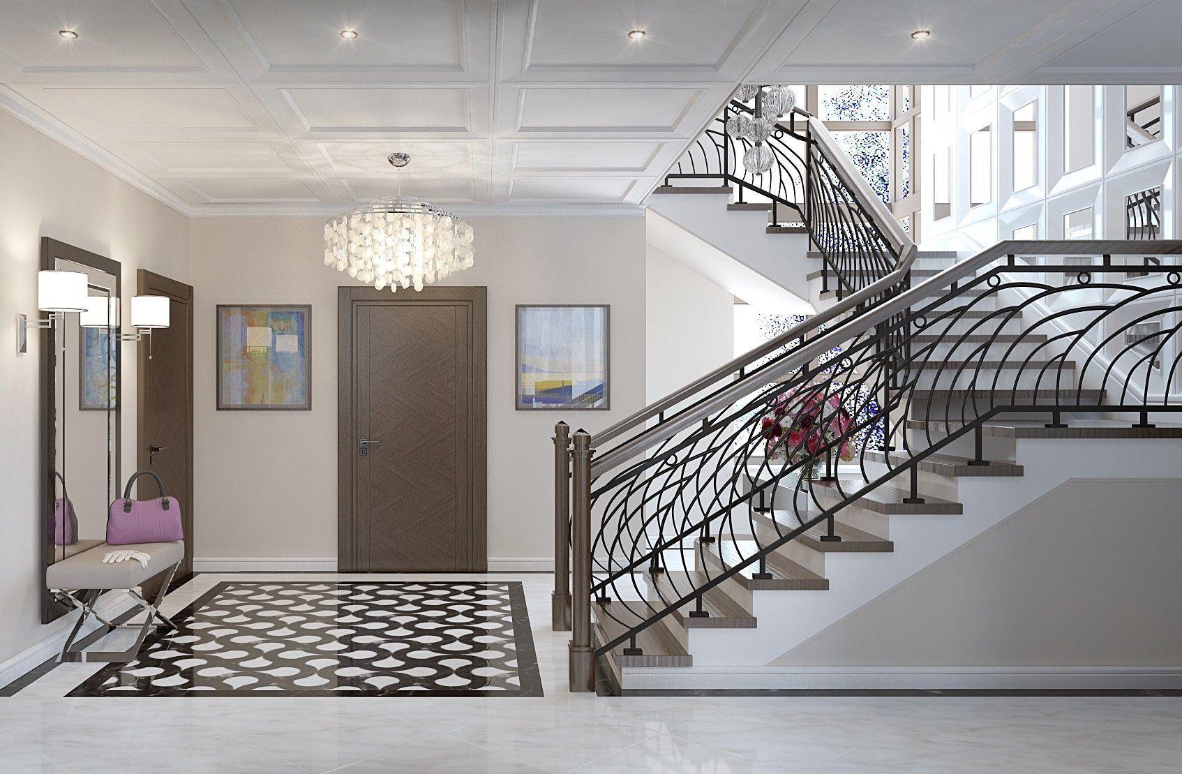 Холл 1-го этажа. Дизайн интерьера дома.
