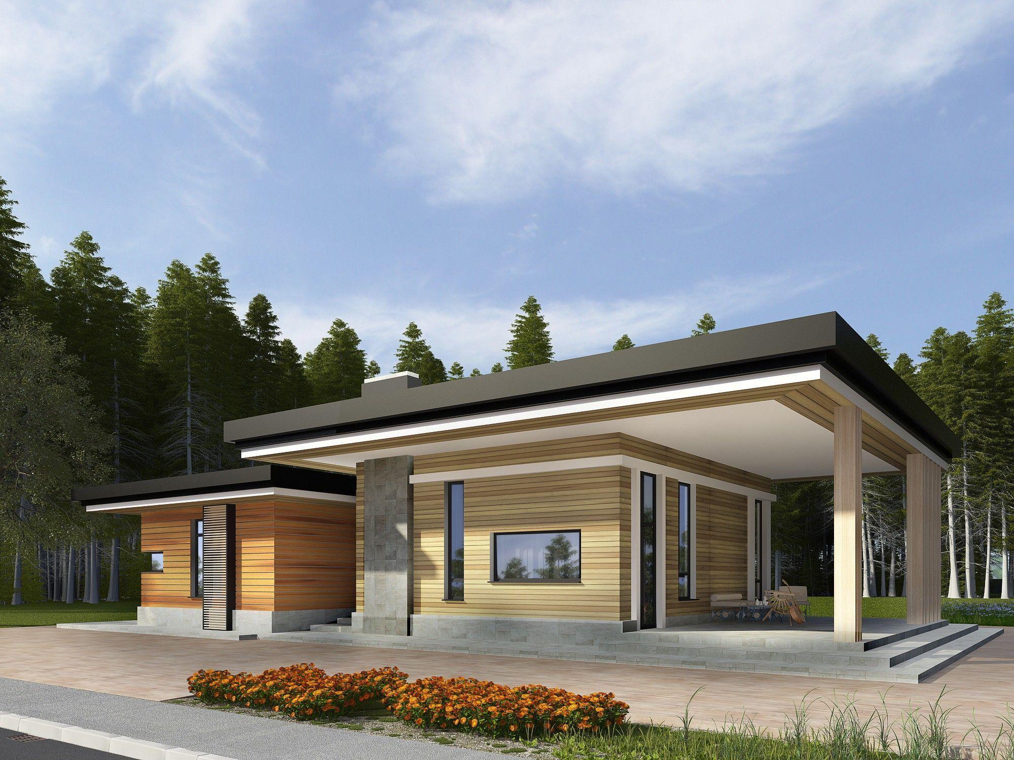 Архитектурный проект одноэтажного дома из дерева