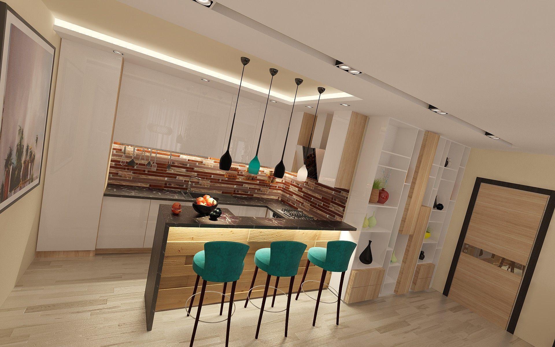 Дизайн - проект кухни с барной стойкой