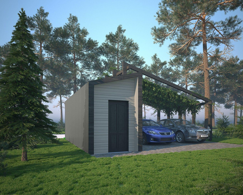 Архитектурный проект дома с крытой стоянкой